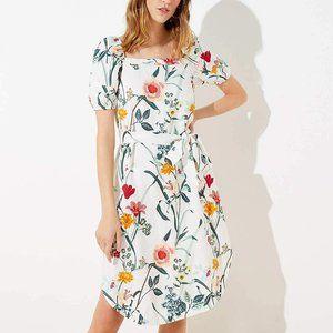 NWT Loft White Floral Puff Sleeve Midi Dress 2